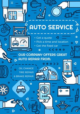 Auto service, repair and vehicle maintenance. Vector linear icons, oil change and car diagnostic online 24 hours. GPS navigation, tire pumping and tow service, toolkit and gasoline petrol station