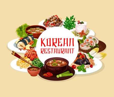 Soup and salads, Korean cuisine dishes round frame. Vector noodles with beef, salad with cilantro and stuffed squid, carp with soy sauce. Tricolor salad and starch noodles with beef, dried pollack