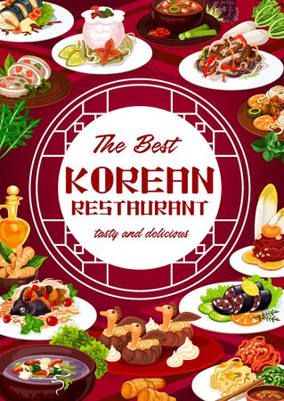 Korean cuisine restaurant, dishes in vector round frame. Spicy kimchi soup, starch noodles with beef, steamed sausages and meat ribs in pot of radish, salad and carp with soy sauce Ilustrace