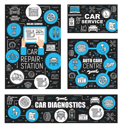 Car repair service and auto care center outline icons. Vector vehicle diagnostic, garage and restoration works. Thin line automobile symbols, spare parts and tire fitting, evacuation and oil change