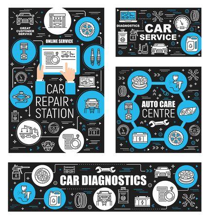 Le service de réparation automobile et le centre d'entretien automobile décrivent les icônes. Travaux de diagnostic, de garage et de restauration de véhicules vectoriels. Symboles automobiles en ligne mince, pièces de rechange et montage de pneus, évacuation et vidange d'huile