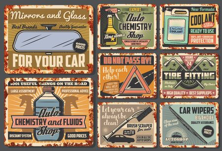 Vehicle spare parts, car accessories rusty retro cards. Vector mirrors and glasses, auto chemistry and fluids, engine coolant, brush scraper and car wipers. Stop to help sign and tire fitting
