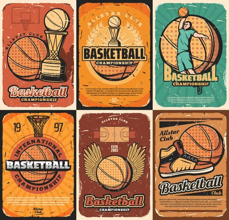 Basketball sport game championship or retro tournament match. Vector winner trophy cup, basket hoop and player, ball and boots, team game court. Competition on basketball, scoreboard and winged ball  イラスト・ベクター素材