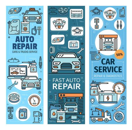 Auto repair, car and truck services linear icons. Vector fast vehicles computer diagnostics and maintenance, wash and oil change. Tire fitting, and petrol station, evacuation and taxi, spare parts Stock Illustratie