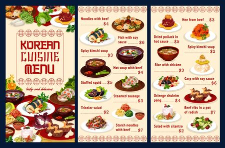 Korean cuisine noodles with beef, fish with soy sauce, spicy kimchi soup and stuffed squid, steamed sausage, tricolor salad. Starch noodles with beef and hee, dried pollack, shukrim pang. Vector menu Vettoriali