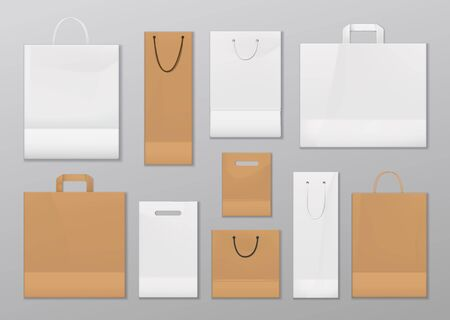 Paper shopping bags with handles isolated. Vector mockups of bags, sale containers to carry goods from shop. Disposable or reusable empty market packages with ropes, rectangular and square store packs