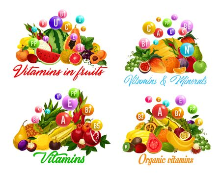 Vitamins in fruits and berries. Vector tropical papaya and banana, durian and pineapple, mango and orange. Grapes and fig, peach and citrus desserts, multivitamins and minerals complex