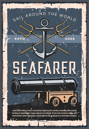 Seafarer artillery, marine cannon, retro anchor and crossed tridents. Vector sails around the world, nautical gun with bullets. Vintage navy, armed forces fleet, seafaring and shooting firearms