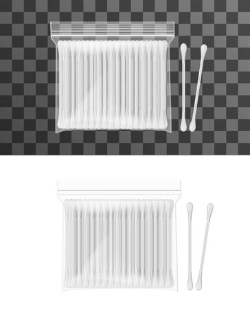 Cotton swabs, ear sticks or buds in polyethylene package isolated on white and transparent. Vector realistic cotton ear swabs on plastic stick. Hygiene objects, medical tools or cosmetic buds  イラスト・ベクター素材