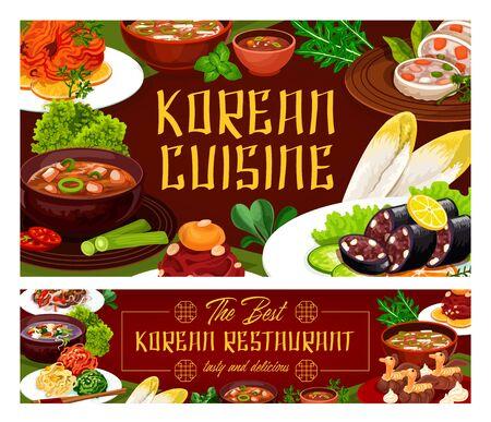Korean cuisine dishes Korean, Korea restaurant. Vector national asian food, bbq beef bulgogi dishes of rice bibimbap mushroom. Green onion pancake and kimchi pork meat stew. Tricolor salad, fried tofu