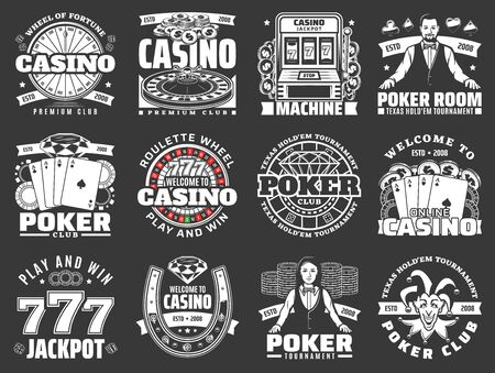 Casino and poker club monochrome icons on black. Vector jackpot of lucky seven combinations, slot machine and croupier, roulette wheel play and win. Tournament and competitions on gambling games Illustration