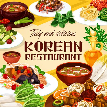 Food of Korean restaurant, national meals of Korea cuisine. Vector spicy kimchi soup and dish with beef, carp with soy sauce, tricolor salad. Noodles with beef, ribs in pot of radish with cilantro