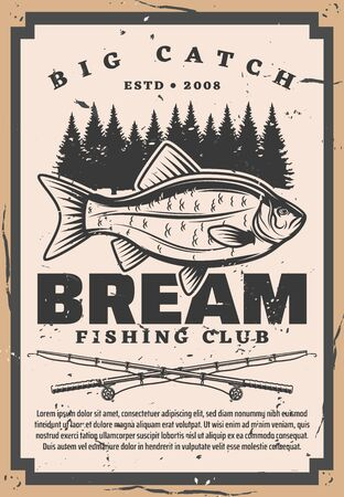 Bream fishing club, retro big catch on fishery. Vector catches fish and forest trees silhouettes, fishing rods. Vintage tentacles fisher club tournament, spinnings and recreation hobby sport