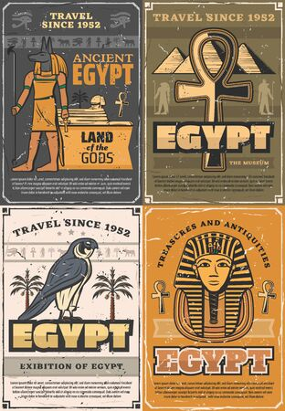 Ancient Egypt land of gods, retro museums and exhibitions. Vector God of sun Ra, falcon bird and palms, Tutankhamen mummy and pyramids. Coptic cross trees, Anubis and Horus, culture and religion