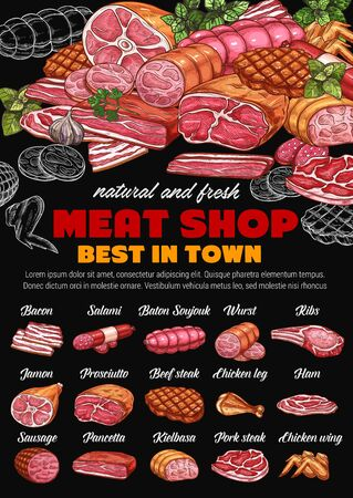 Meat shop, pork and beef sketches on chalkboard. Vector bacon and salami, baton soujouk and prosciutto , jamon and chicken leg. Butchery store sausages, farm beef steak and kielbasa, pancetta and ham  イラスト・ベクター素材