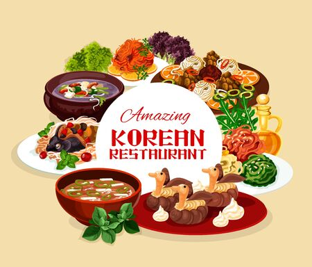 National Korean restaurant banner with traditional food of Korea in bowls. Vector hee from beef, fish with soy sauce, starch noodles. Ribs in pot of radish, rice with chicken, orienge shukrim pang