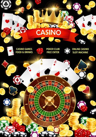 Gambling games, poker club and online casino with slot machine. Vector blackjack playing cards, gamble dices and chips, joker royal crown. Betting agency, golden coins and stakes, game of chance Иллюстрация