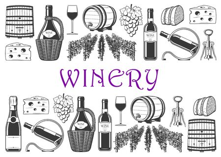 Winery monochrome icons, wine production and winemaking industry. Vector wooden barrel and vineyards, glass of wine, vine harvest. Corkscrew, cheese and bread snacks, bottle in holder and grape bunch