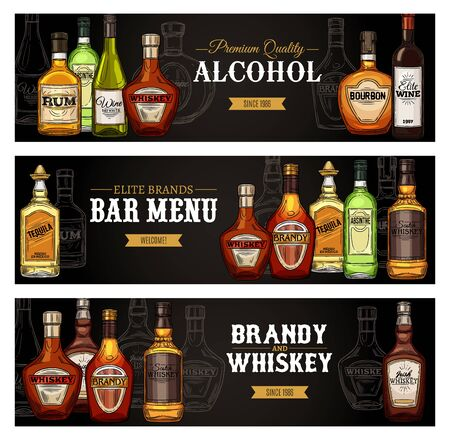 Bar menu banners, alcohol drinks bottles sketch. Vector premium quality shots and cocktail alcohol drinks rum, Scotch whiskey or cognac with wine bottle, absinthe and tequila and bourbon