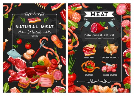 Sausages and meat, kitchen cutlery and greens. Vector chicken products, ribs and beefsteak, butchery food. Prosciutto and smoked turkey, pork and lamb, beef and veal, salami sirloin, jamon and herbs