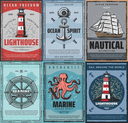 Sea adventures, nautical and marine concept, freedom of ocean. Vector retro lighthouse, diving mask, anchor and steering wheel, ship with canvas. Transportation by sea and octopus, sail round world 일러스트