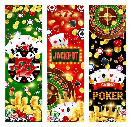 Jackpot in casino, poker game and lucky seven combination, gamble games. Vector wheel of fortune, neon sign, roulette and poker playing cards. Golden coins and stacks, dices and chips, royal crown