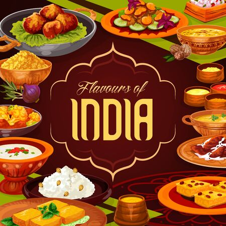 Indian cuisine food, vector design of rice dishes with vegetables, meat and seafood. Lentil curry, pork pilau and shrimp saffron soup, paneer cheese, prawns in sauce, potato samosa and semolina cake