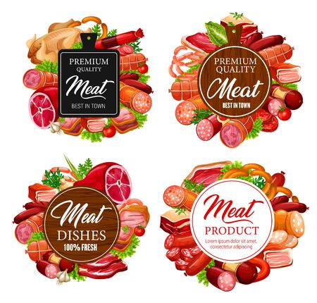 Meat food vector sausages, beef steaks and pork ham, salami, bacon and chicken, lamb and turkey with herbs and cutting board. Butcher shop or barbeque store emblems, labels design
