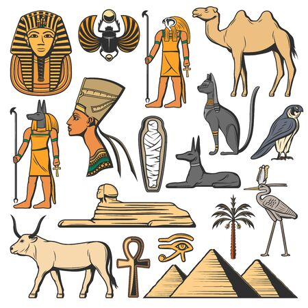 Egyptian pharaoh, pyramids and Gods. Ancient Egypt vector icons. Sphinx, cat and mummy, eye of Horus, Anubis and Ankh hieroglyph, Tutankhamun, Nefertiti and scarab, desert palm and camel Vektoros illusztráció