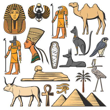 Faraón egipcio, pirámides y dioses. Iconos de vector de Egipto antiguo. Esfinge, gato y momia, ojo de Horus, jeroglífico de Anubis y Ankh, Tutankamón, Nefertiti y escarabajo, palma del desierto y camello Ilustración de vector