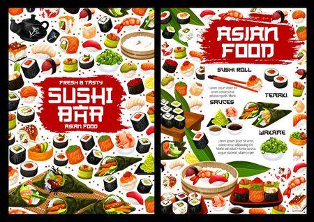 Japanese sushi rolls vector menu, asian food. Salmon fish sashimi, rice and seafood maki, tuna, shrimp temaki and octopus nigiri, prawn uramaki and gunkan with chopsticks