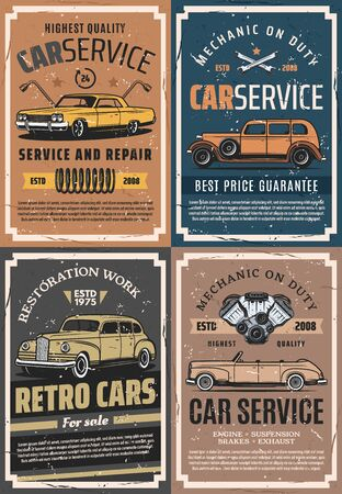 Car service, repair and reconstruction retro posters. Vector cars, wheel and vehicle engine spare parts, tire, wrench, spanner and suspension spring. Garage and mechanic workshop Illustration