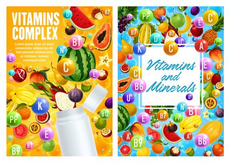 Vitamin and mineral complex of exotic fruits, vector design of health food. Blank plastic bottle with splash of pineapple, mango and orange, banana, watermelon and grape, fig and feijoa