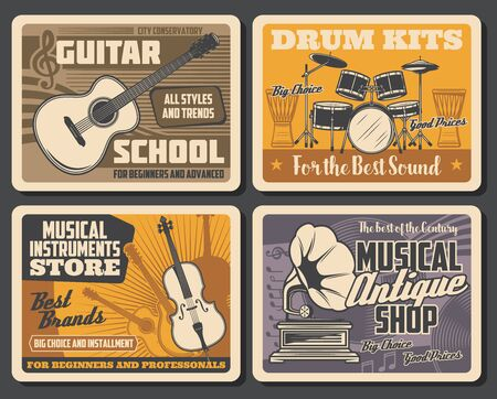 Musical instruments and notes vector design with drums, guitar and violin, gramophone and vinyl records, djembe and treble clef. Music school, store and sound shop posters