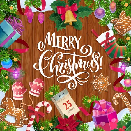 Merry Christmas vector greeting card with holiday frame on wooden background. Xmas bell, gifts and presents, ribbon bows, stocking and calendar, balls, snow and lights, candies and cookies