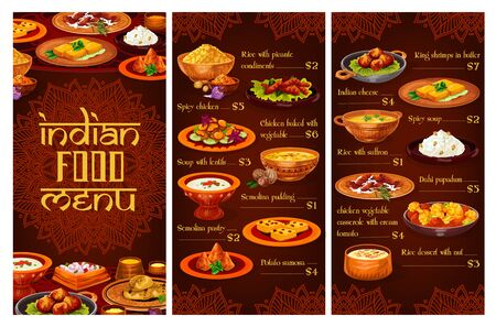 Indian restaurant vector menu with rice, meat, vegetable and seafood dishes. Spicy chicken, pilau and lentil soup, paneer cheese, potato samosa, battered shrimps and semolina pudding