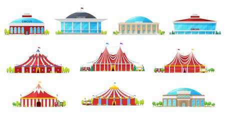 Circus tent, building and carnival marquee icons. Vector and big tops with flags, red white strips and balloons. Chapiteau, amusement park and funfair, entertainment architecture Çizim