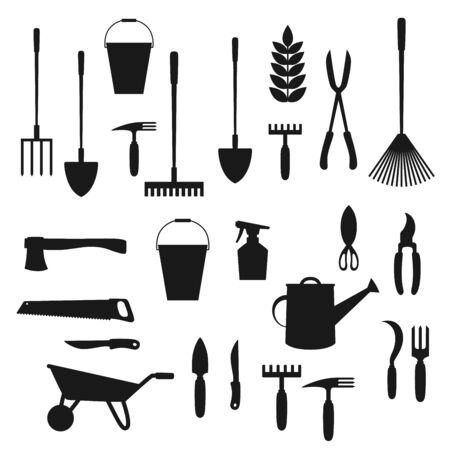 Garden tool and lawn care equipment black silhouettes of gardening and agriculture vector design. Shovel, rake and fork, plant, watering can and wheelbarrow, trowel, spade, scissors and pitchfork