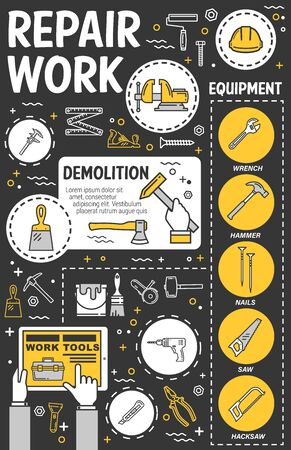 Work tools vector design of house repair, home construction and building equipment. Thin line hammer, drill and paint, toolbox, screwdriver and brush, pliers, wrench and spanner, roller and trowel