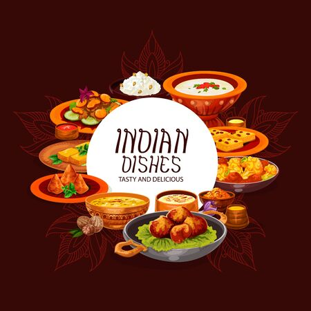 Indian food vector design of dishes with chicken curry, rice pilau and meat vegetable casserole. Potato samosa, seafood and lentil soups, paneer cheese and battered shrimps, served with spices, sauces Illustration