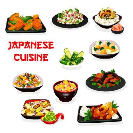 Japanese cuisine vector design of rice and noodle dishes with vegetables, meat and fish. Eggplant in miso sauce, rice with salmon and mushroom, udon, cucumber and cabbage salads, pork and beef stews