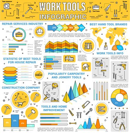 Work tools infographics vector design. House repair and construction industry graphs and charts, world map of best hand tool brands and diagrams with hammers, toolbox and drill, wrench and spanner  イラスト・ベクター素材