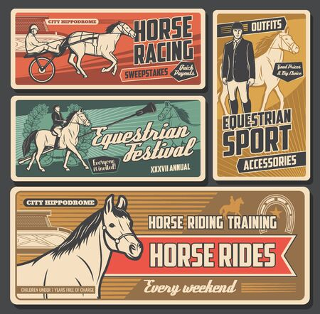 Equestrian sport vector posters with race horses, jockeys and riders, thoroughbred racehorse, hippodrome and racetrack, saddle, whip and equine tack, horseshoe and trophy. Horse racing design
