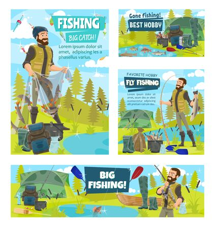 Fishermen and caught fish banners of fishing sport vector design. Fishers or anglers with fishing rod, net and boat, tackle, hook and lure, reel, tourism equipment and tent, salmon, tuna and perch
