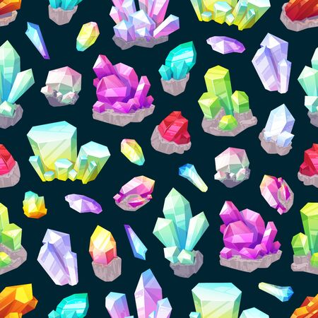 Crystals, gem stones and rocks, minerals and gemstones seamless pattern background. Vector quartz, diamond and amethyst, sapphire, jade and salt, emerald, citrine and garnet. Precious gemstones design