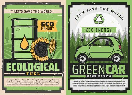 Electric car and eco green fuel posters of ecology clean energy and environment friendly vehicle vector design. Hybrid auto and barrel of bio fuel with green leaf, recycle symbol, sunflower and corn Stockfoto - 133563762