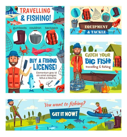 Fishing sport tackle and equipment vector design with fishermen, fish, fishing rods and nets. Anglers, boats, hooks, baits and lure, river carp, hike and perch, blue marlin, tuna and salmon Ilustracja