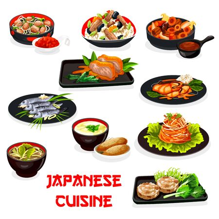 Japanese cuisine baked meat and fish vector dishes with vegetables, chicken rice, eggs and seaweed, pork in ginger sauce, mushroom miso soup and yam dip, potato and chicken with peppers. Asian food