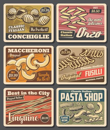 Italian pasta retro posters with vector macaroni, spaghetti and linguine, fusilli, conchiglie and rigatoni, elichie, orzo and tagliatele. Pasta shop, mediterranean cuisine restaurant design