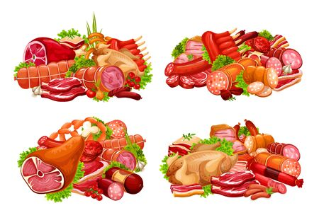 Meat and sausage with spice herb vector icons. Beef steaks, pork ribs and ham, salami, bacon and smoked frankfurter, chicken, turkey, barbeque burger and lettuce salad leaves. Butcher shop design Illustration